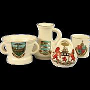 4 Goss Crested Ware Pieces, Mortar, Pot, Mug, & Jug