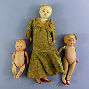 Japan Bisque Head Mother, All Bisque Girl & Baby