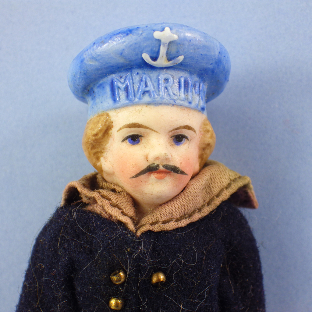 All-Bisque Sailor, Mustache, Molded Hat, Original Clothes