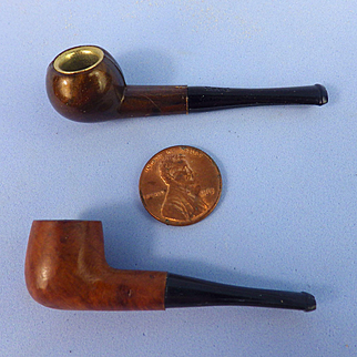 2 Tiny Smoking Pipes, Doll Size