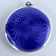 Swirling Blue Guilloche & Sterling Compact