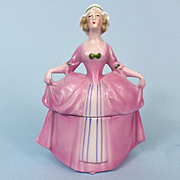 Pink Figural Lady Powder Box