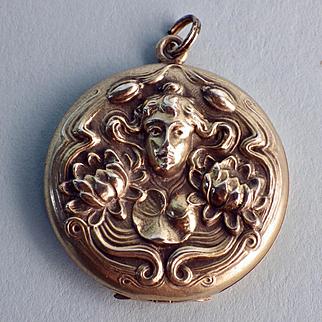 Sterling Art Nouveau Nymph Locket
