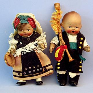 2 Bisque Galicia Spain Costume Dolls