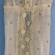Gibson Girl/ Edwardian Dainty Detailed Blue & White Tea Dress, Lace Inserts