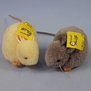 2 Vintage Steiff Pom-Pom Mice, Gray & White, Excellent Condition, Raised Script Button