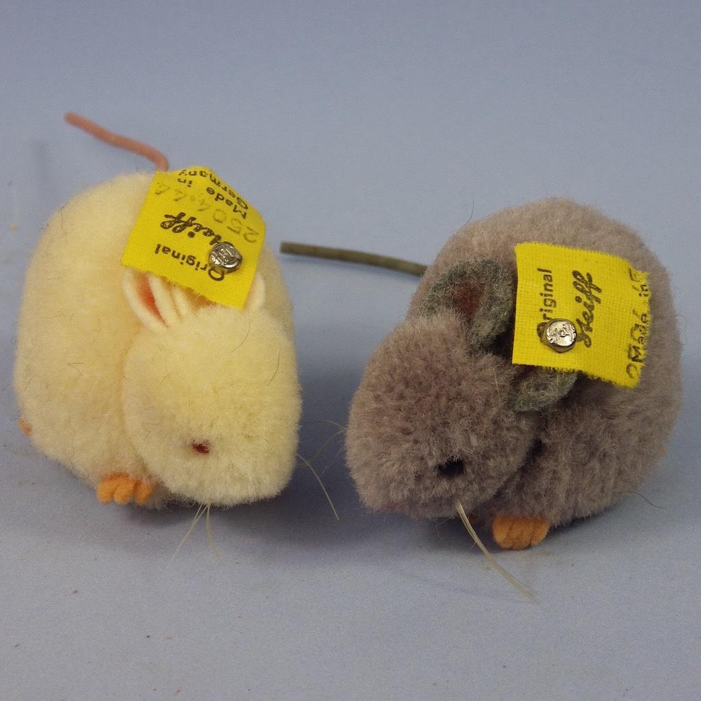 2 Vintage Steiff Pom-Pom Mice, Gray & White, Excellent Condition, Raised Script Button