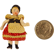 Tiny Carl Horn Bisque Doll in Elaborate Crocheted Ethnic Costume