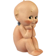 """German Bisque O'Neill Kewpie """"The Thinker,"""" Signed, Label"""