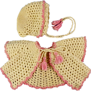 Vintage Ecru & Pink Crochet Small Baby Doll Jacket & Bonnet.  CUTE!!!