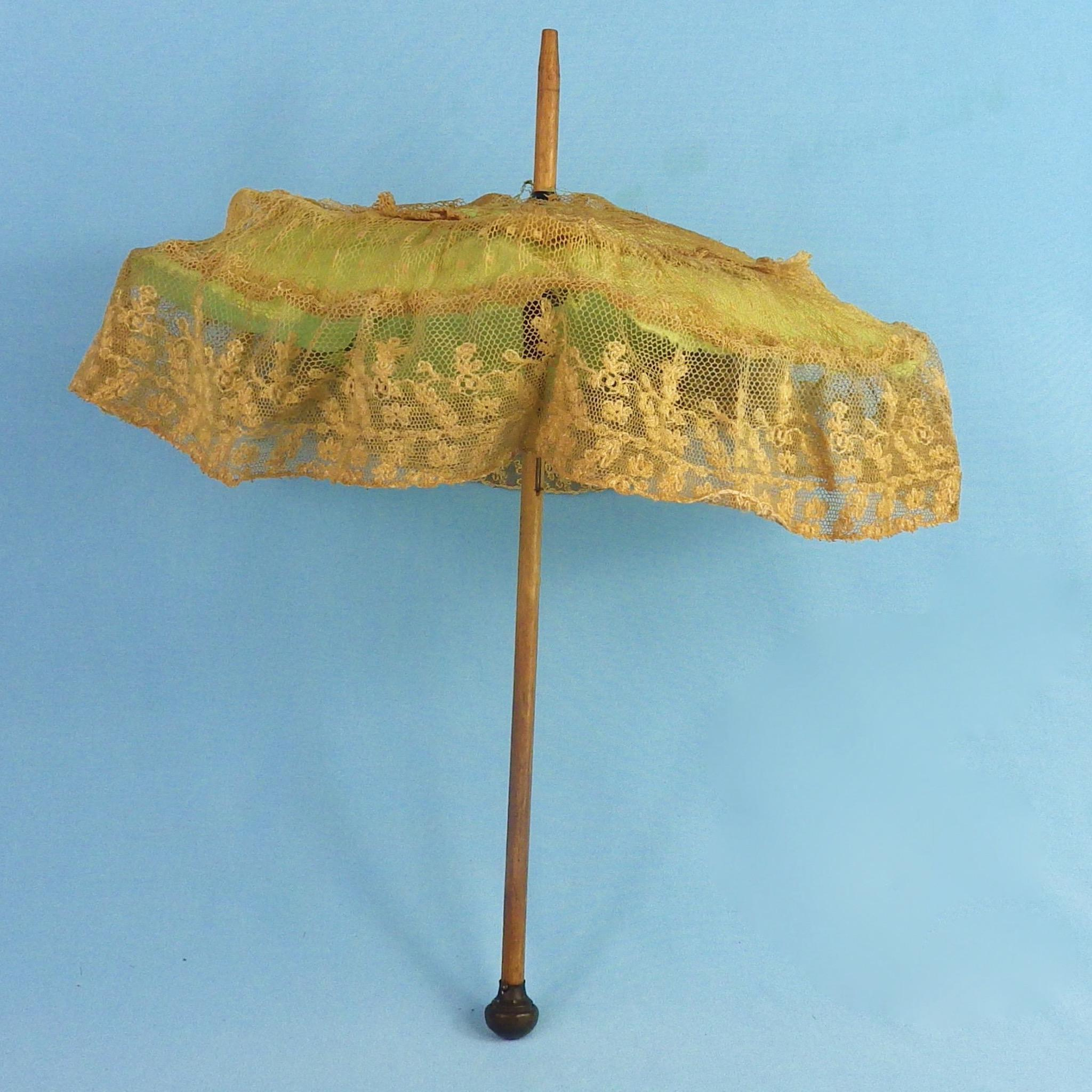 Antique Lace-Covered Working Doll Size Umbrella Parasol