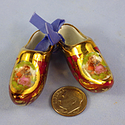 Pair Miniature Lavishly-Decorated Limoges Sabots Clogs