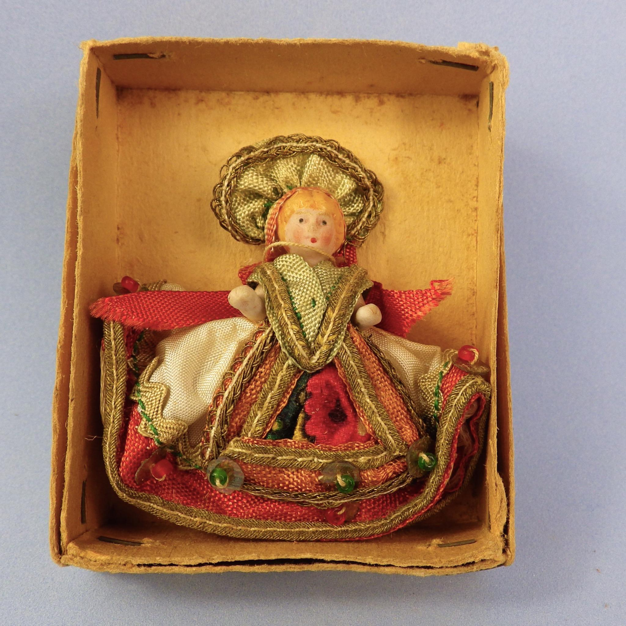 Tiny All Bisque Doll, Elaborate Hungary Costume, Original Box