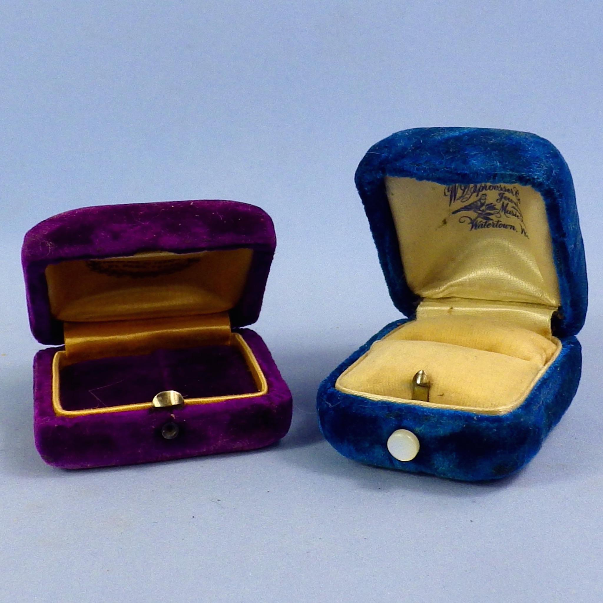 Two Vintage Velvet Push Button Presentation Ring Boxes