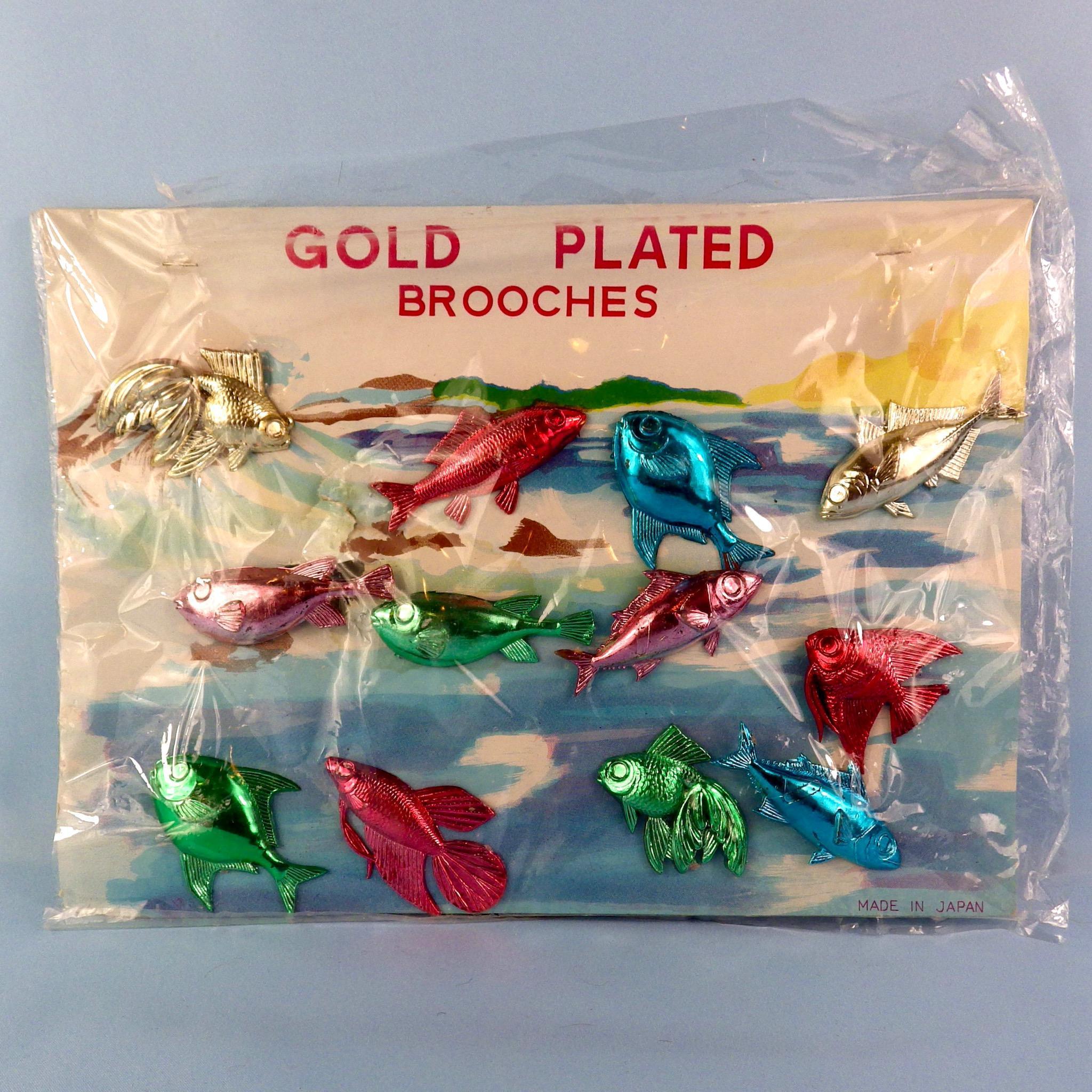 12 Fun Funky Fish Pins, Original Display Card