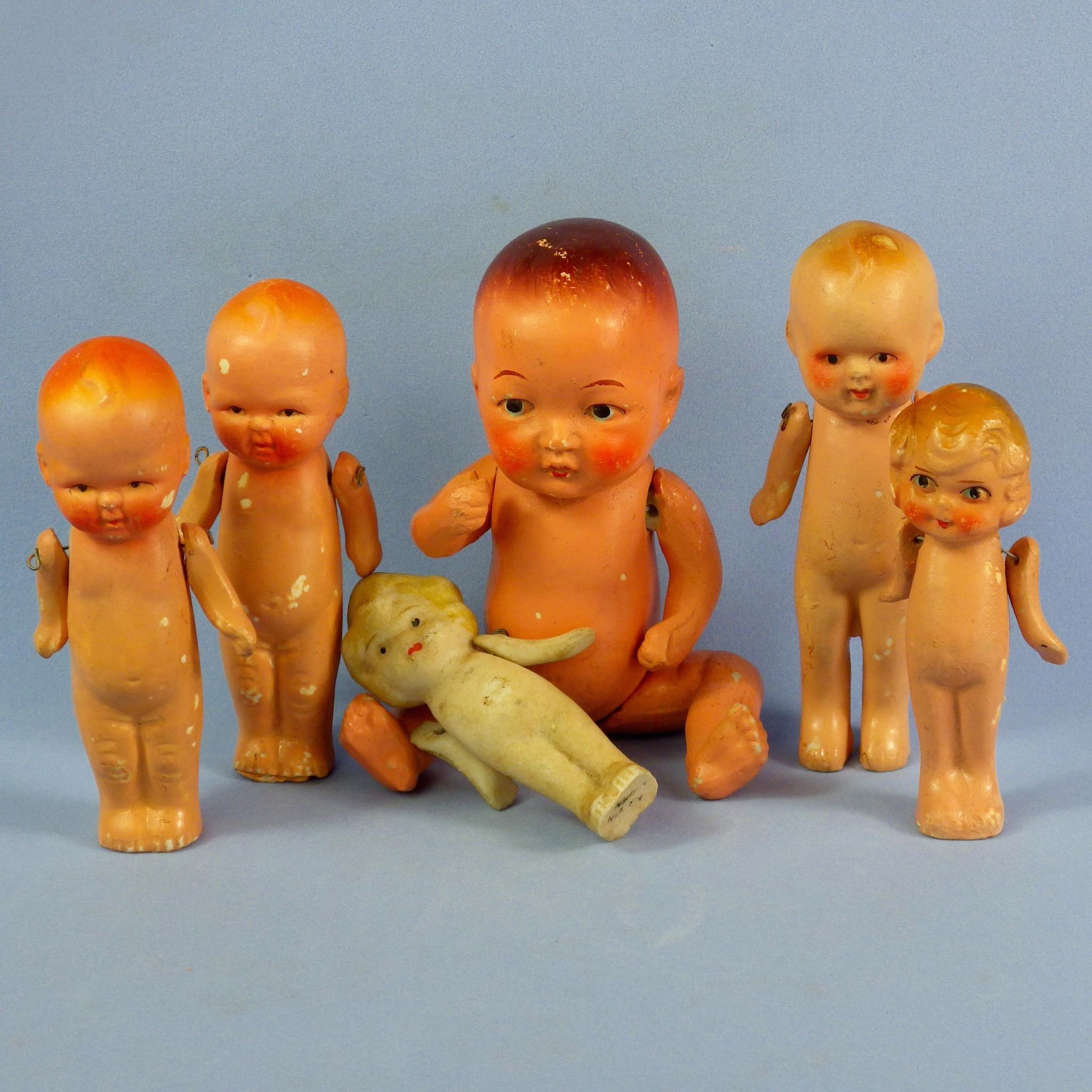 6 All Bisque Japan Dolls, Baby, Toddlers, Flappers