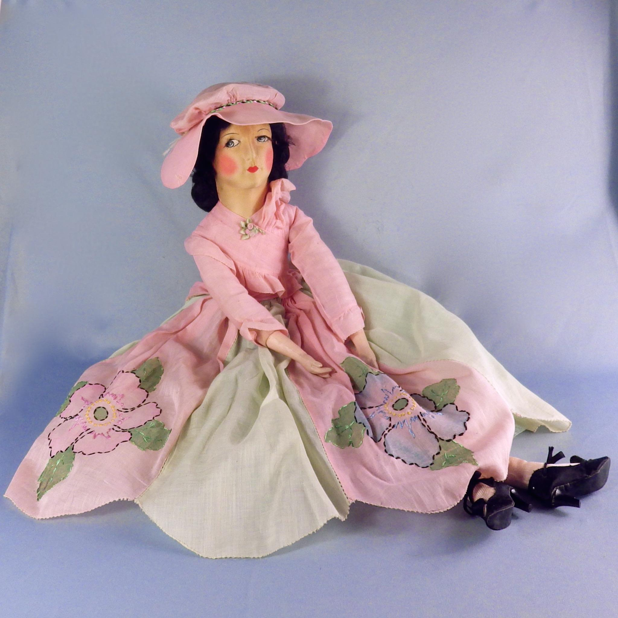 All Original Brucilla Boudoir Doll, Embroidered Dress, Cloth Face, Eyelashes