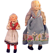 2 Ronnaug Petterssen dolls, Early Hardanger Girl & Felt Face Oslo Girl