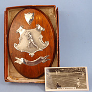 Vintage Sterling & Wood Tennis Trophy Plaque, Tennis Card