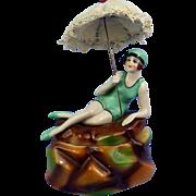 Fasold & Stauch Flapper Bathing Beauty Figural Powder Box
