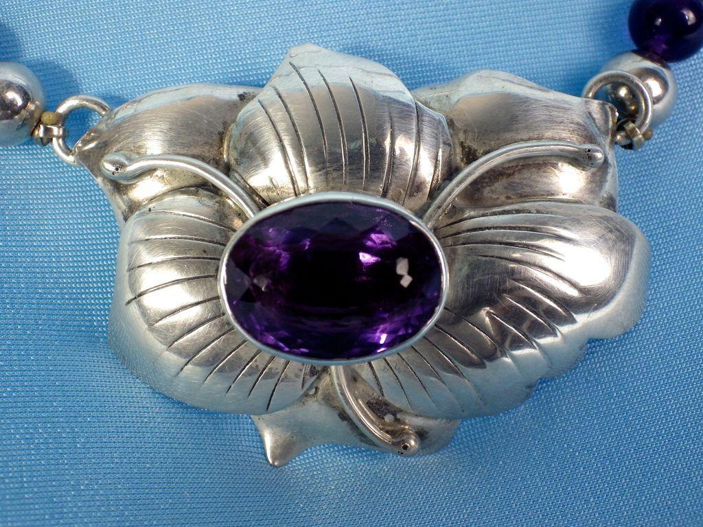Vintage Sterling & Amethyst Necklace, Navajo Etta Endito