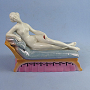 China Nude Lady on Lounge Powder Box, Pictured in Book