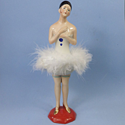 China German Pierrette Half Doll Standing Legs Powder Dish