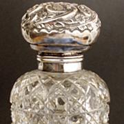 Cut Glass 1897 Perfume Bottle  Birmingham Sterling Top