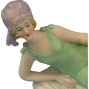 Big, Unusual Colorful Bisque Sitzendorf Bathing Beauty Lying on Towel
