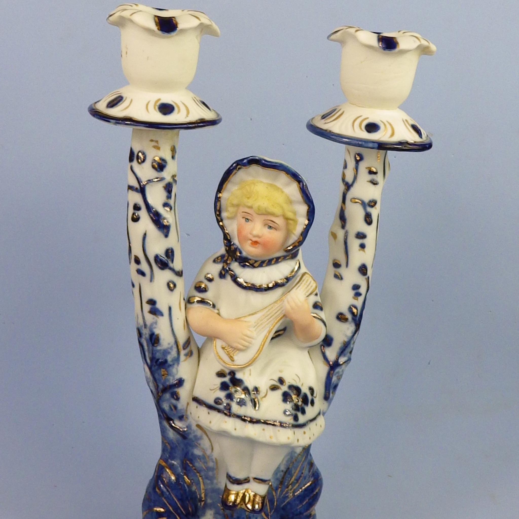 Early Bisque 2-Branch Figural Candelabra, Girl Playing Lute