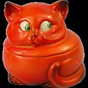 German Orange & Black Googly Eyes Cat Figural Powder Box