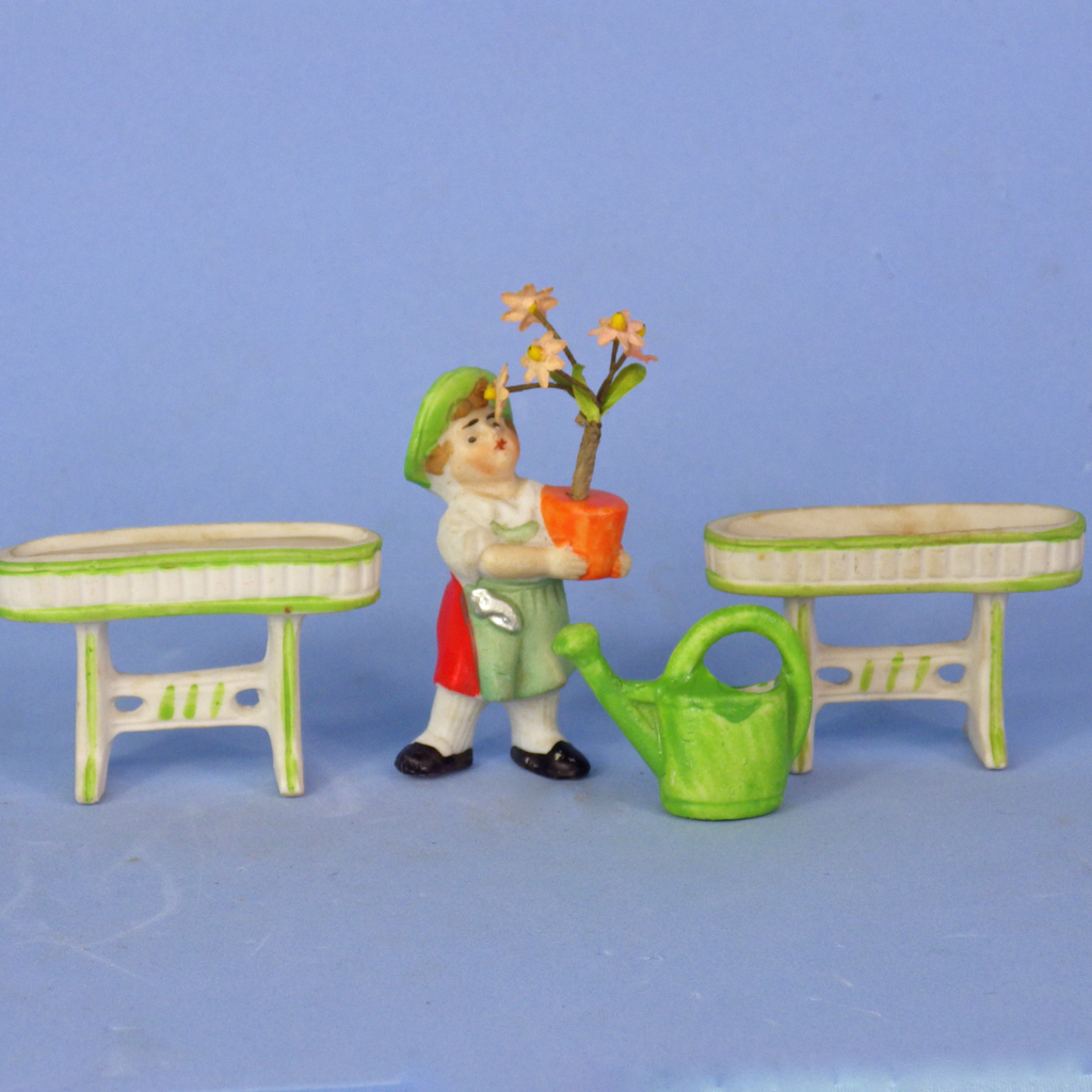 4-Piece Bisque Set Gardener, Planters, Watering Can