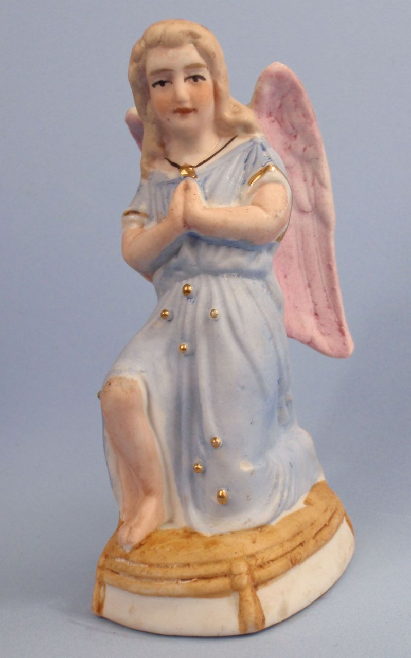 Lovely Old German Bisque Kneeling Angel, Gold Trim