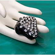 Black Japanned Metal & Clear Rhinestone Strawberry Brooch