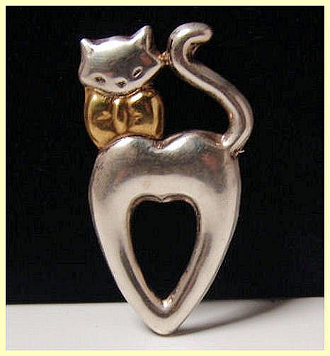 Vintage Mexico 925 Whimsical Cat Brooch
