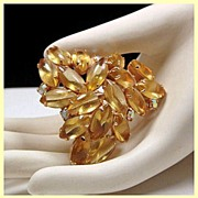 Lemon Yellow Marquis Rhinestone Brooch
