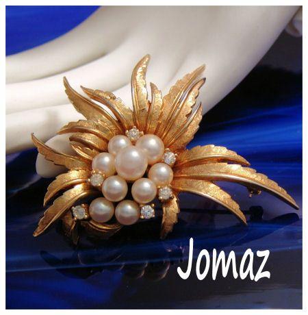 Jomaz Faux Pearl & Rhinestone Stylized Flower Brooch