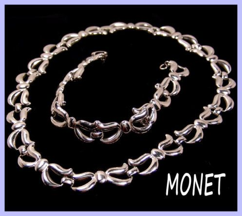 Monet Silvertone Link Necklace & Bracelet Set