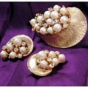 Aurora Borealis Rhinestone Faux Pearl Brooch & Earring Set