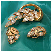 Clear Marquis Rhinestone Brooch & Earring Set