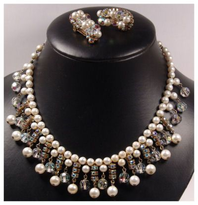 Kramer Faux Pearl Rhinestone & Crystals Bib Necklace & Earring Set