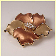 Golden Enamel Flower Pendant Brooch