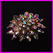Bursting in Color Vitrail Crystal Bead Brooch