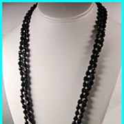 "48"" Vintage Faceted Black Glass Bead Necklace"