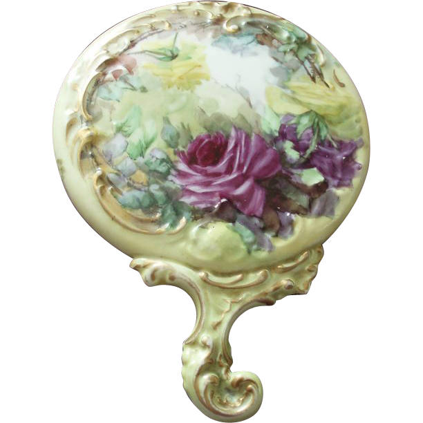 Antique American Belleek Porcelain Hand Mirror With Hand Painted Roses