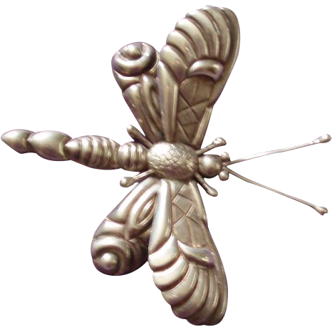 Huge Vintage Mexican Sterling Silver Butterfly Bug Pin Brooch