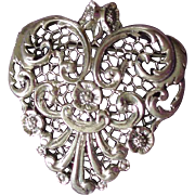 Vintage Danecraft Sterling Silver Ornate Heart Brooch Pin