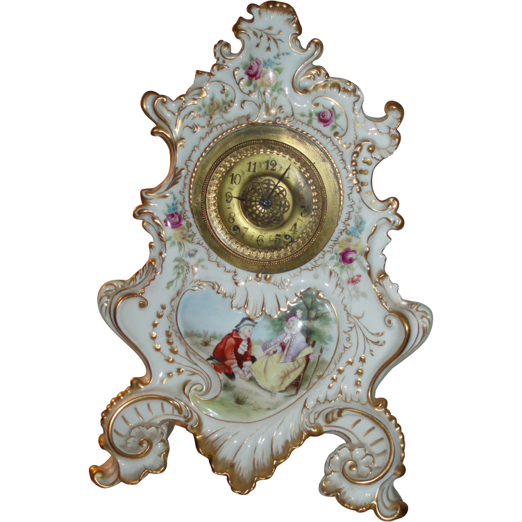 Massive 17-Inch Antique French Limoges Porcelain Clock - The Largest Limoges Clock Mold