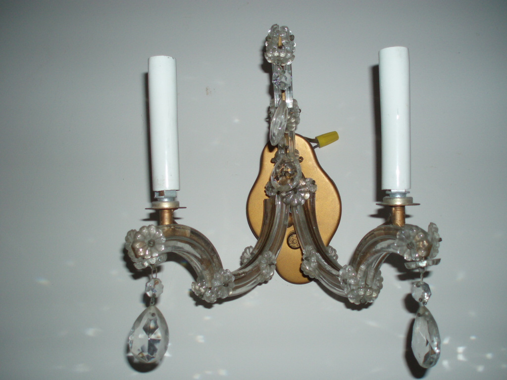 Vintage Italian Crystal Wall Sconce Chandelier from rubylane-sold on Ruby Lane