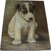 Charming Antique Terrier Dog Oil Painting